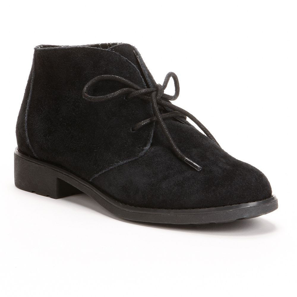 New Womens Eddie Bauer Vega Black Suede Ankle Boots Shoes MSRP 100