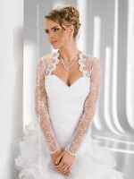 Wedding Ivory Lace Bolero Bridal Shrug Jacket Long Sleeve Xs M L Xl