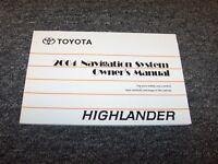 2004 Toyota Highlander Navigation System Owner Owner's Operator Manual 2.4l 3.3l