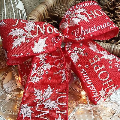 Red Glitter  Christmas Ribbon 60mm Wide ideal for bows and wrapping