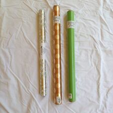 3 Beautiful Rolls of Gift Wrap Paper   110 Sq Ft Gold Foil Green Silver Wedding