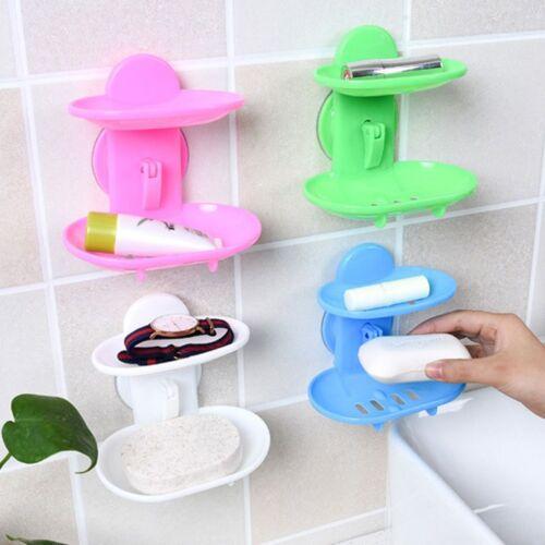 Sucker Bathroom Soap Dish Soap Box Sucker Holder Container Double Layers