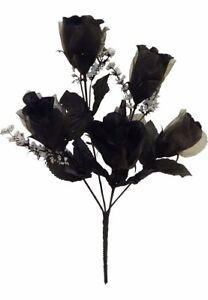 5 BLACK Roses Sheer Petals Silk Wedding Silk Bouquet Flowers Centerpieces