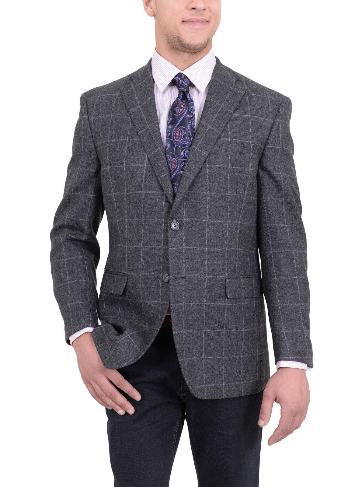 Ital  Herren Classic Fit grau Windowpane Flannel Wool Blazer Sportcoat