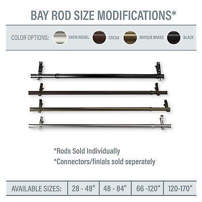 Bay Window Corner Window Single Curtain Rod Choose From 4 Sizes 4 Colors Ebay