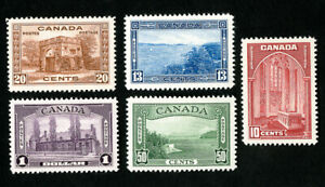 Canada-Stamps-241-45-XF-OG-NH-Catalog-Value-230-00