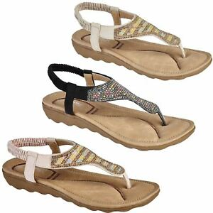 f0798c7bfcab19 Image is loading TASMANIA-Ladies-Toe-Post-Diamante-Elastic-Sling-Back-