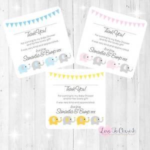 Personalised-BABY-SHOWER-Thank-You-Cards-Elephants-Hearts-Design-BOY-GIRL-UNISEX