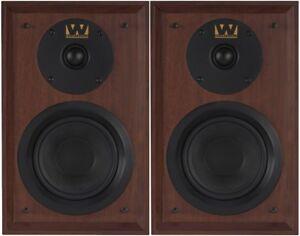 Wharfedale-Denton-Loudspeakers-Bookshelf-Stereo-Pair-Home-80th-Mahogany-Red