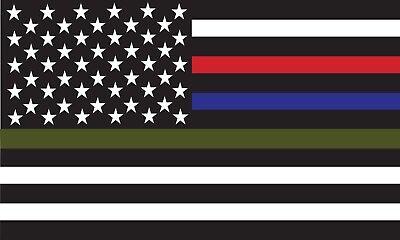 Thin Blue Red Green Line American Flag Vinyl Decal Car