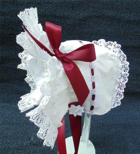 New Handmade White and White Lace with Wine Bows and Ties Baby Bonnet