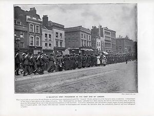 1897-VICTORIAN-PRINT-SALVATION-ARMY-PROCESSION-WHITECHAPEL-RD-EAST-END-LONDON