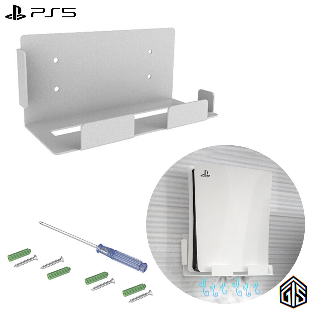 PS5 Wall Mount Holder For PlayStation 5 Console White With Tools & Instructions