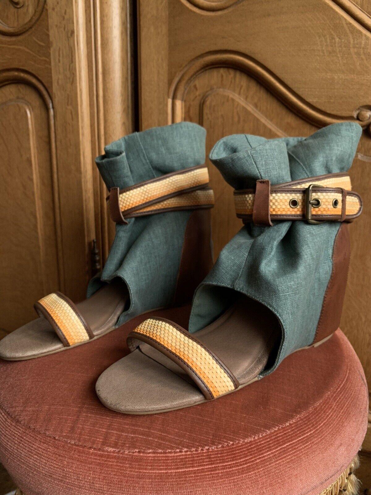80% 20 Designer Caché Compensé Sandale Bottes, bleu jean, UK7 (US 9)