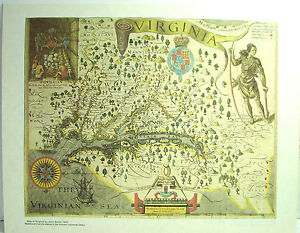 Vintage Map Of Virginia By John Smith Reproduction Antique - Vintage map of virginia