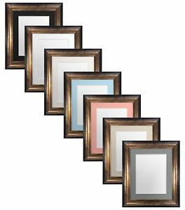 Scandi-Black-amp-Gold-Picture-Photo-Frames-Ivory-Black-White-Pink-Blue-Grey-Mounts