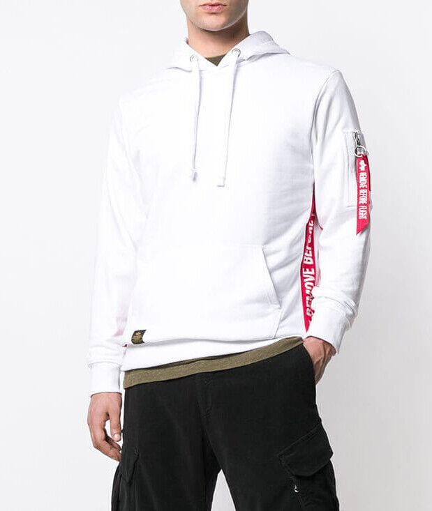 Alpha Industries Remove Before Flight NASA Mens Sweatshirt Hoodie WHITE Size L