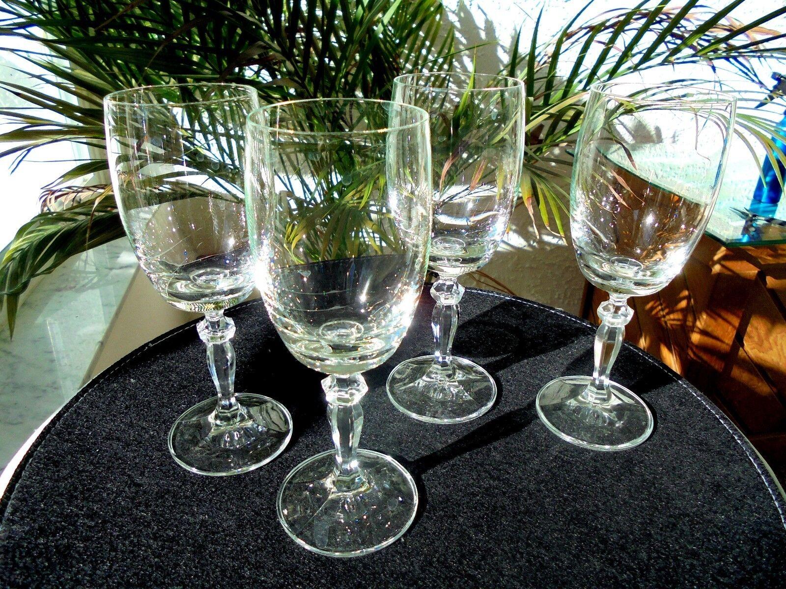 Set of 4 Clear Crystal Wine Goblets Unbranded