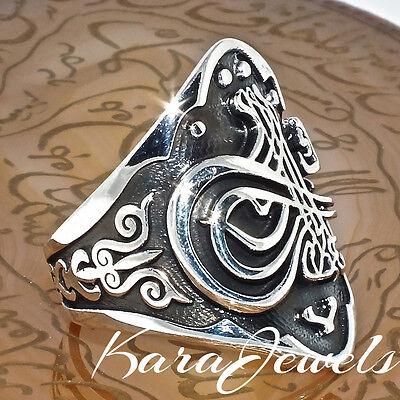 925 Sterling Silver Unique Ottoman Archer's Thumb Ring Zihgir