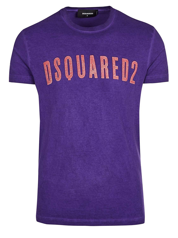 DSQUARED2 Men's Purple Logo Short Sleeve T-Shirt