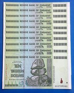 UNCIRCULATED $10 TRILLION BANKNOTE ZIMBABWE