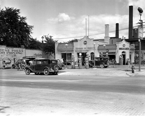 RT279 8X10 PHOTO HICKEY/'S SERVICE STATION AT MAIN /& CATHERINE IN ANN ARBOR