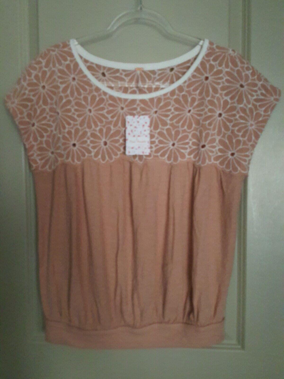 FREE PEOPLE damen Cotton  Embroiderot Desert Sands Deep Beige Summer Blouse M