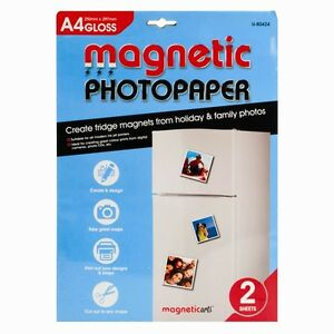 2 sheets of a4 magnetic gloss photo paper for inkjet print brand
