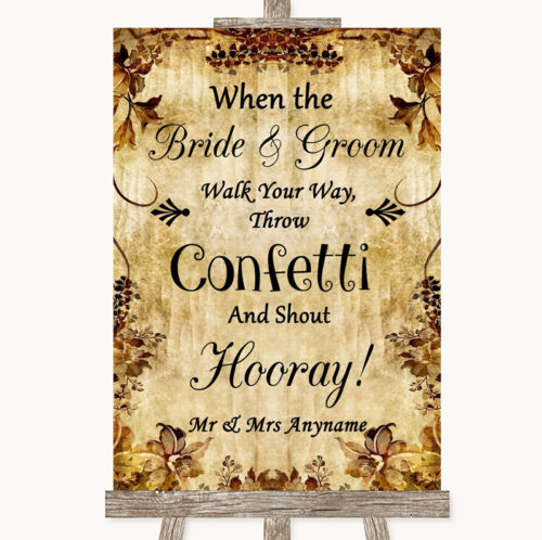 Autumn Vintage Confetti Personalised Wedding Sign