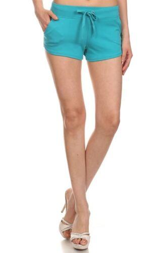 FRENCH TERRY BASIC mini shorts yoga boy-shorts pockets drawstrings Cotton S M L
