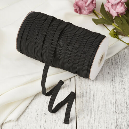 200yds//Roll Black Elastic Cords Flat Stretch Threads Sewing  Crafting String 6mm