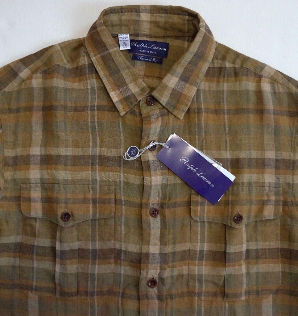 RALPH LAUREN PURPLE Label 100% LINEN Short-Sleeve Shirt M
