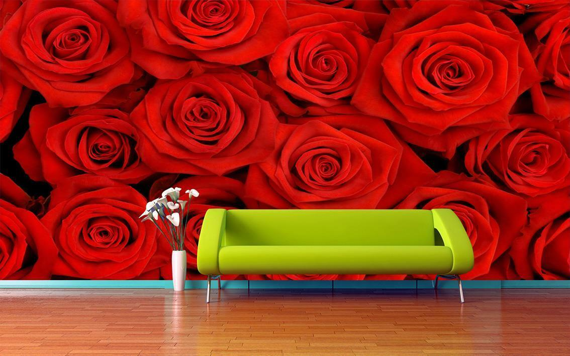 Roses Bouquet Wallpaper Woven Self-Adhesive Wall Art Mural Design Floral T25