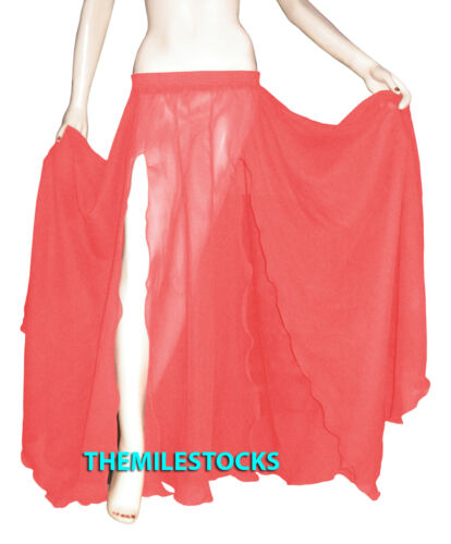 TMS Slit Full Circle Skirt Belly Dance Gypsy Troup Tribal Deep Pink 25 Color