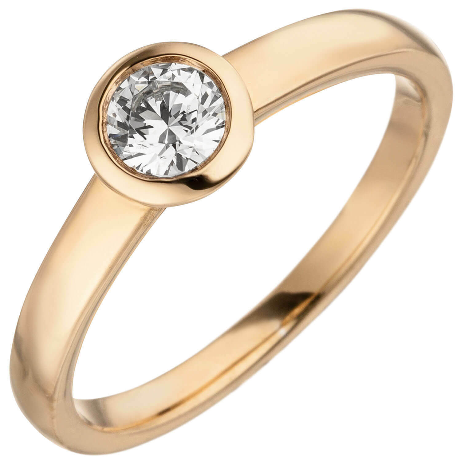 Ring Solitaire Women's Ring with Diamond, round, 585 gold pink gold