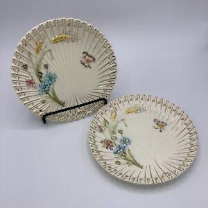 VTG-White-Villeroy-Boch-Majolica-Fan-Dandelion-amp-Butterfly-Plate-Lot-Marked-977