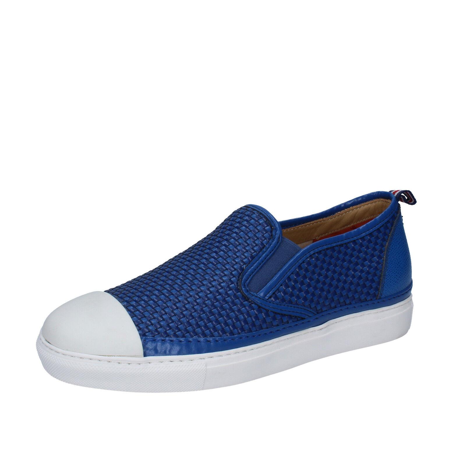 men's shoes BRIMARTS 8 () slip on blue leather BZ283-D