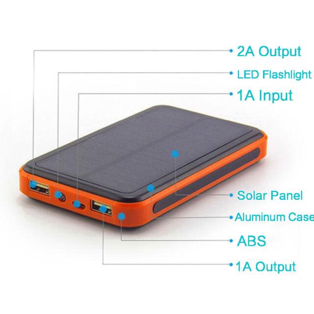 300000mah Solar Power Bank  Dual USB Portable External Battery Charger For phone
