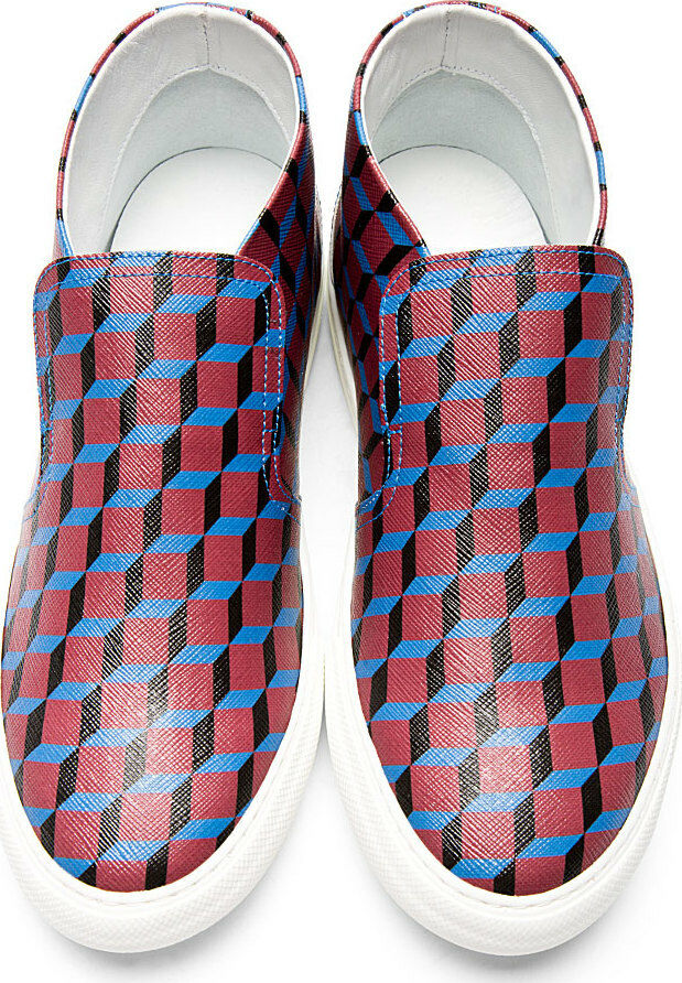 468 PIERRE HARDY Red Cube Print Slip-On Sneakers dsquared Kenzo 39 shoes