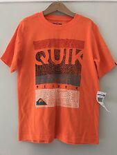 NEW! Quiksilver Boys Short Sleeve T SHIRT Orange Logo Surf Sz 7 Cotton