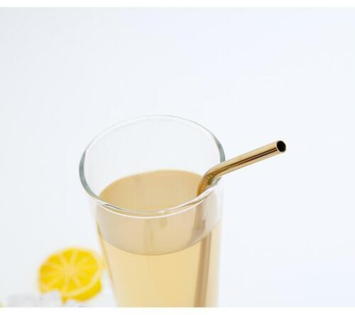 Premium Reusable Eco-friendly Bent Gold Stainless Steel Metal Drinking Straw