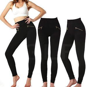 4cdbbbc3374860 Women High Waist Slim Elastic Skinny two Zip Leggings Stretchy ...