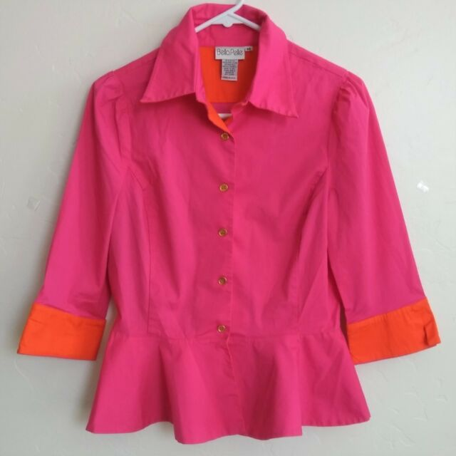 Women's Bella Pelle M Pink Orange Top Shirt Long Sleeve Sz M