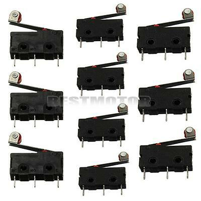 10pcs Roller Lever Arm PCB Terminals Micro Limit Normal Open/Close Switch KW12-3