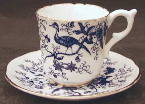 Demitasse Cup /& Saucer 1873557 Coalport CAIRO BLUE ON WHITE GOLD TRIM