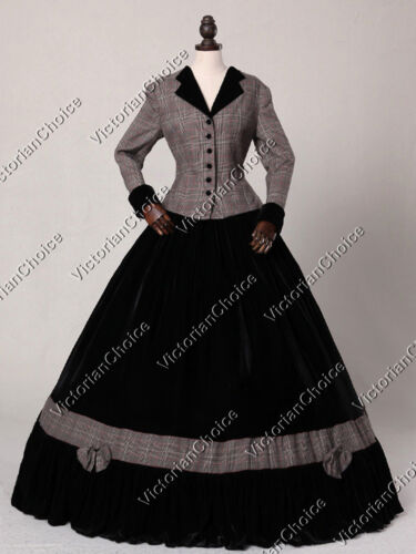 Victorian Dresses- Patterns, Costumes, Custom Dresses    Victorian Civil War Tartan Plaid 2PC Day Dress Gown Reenactment Clothing 122 $185.00 AT vintagedancer.com