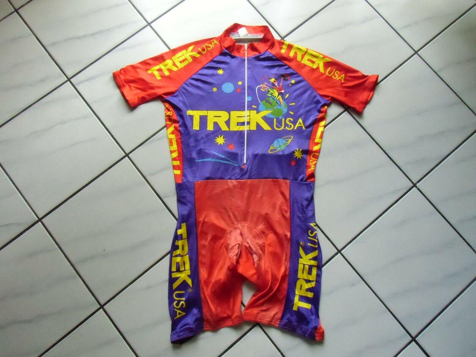 RARE Vintage Trek USA ciclismo skinsuit Jersey Pantaloncini Speedsuit Taglia L