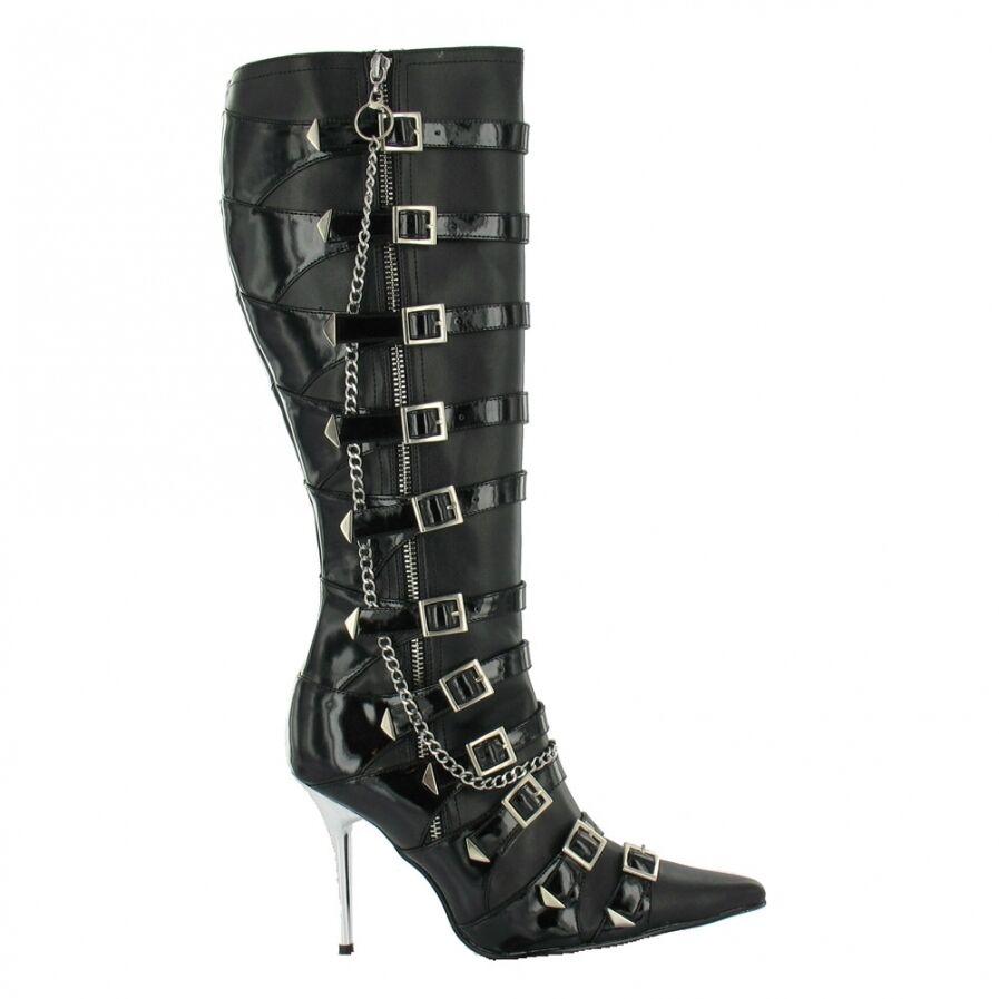 Erosella Electra 02 Sexy Erosella Pu/Patent Chain And Buckle Knee Boots Black Pu