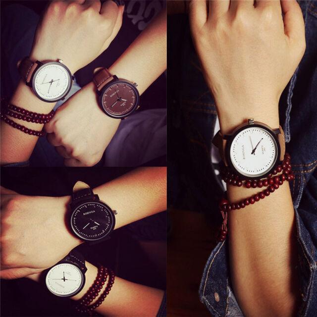 Men Women Fashion Watch Steel Case Leather Quartz Analog Couple's Wrist Watch