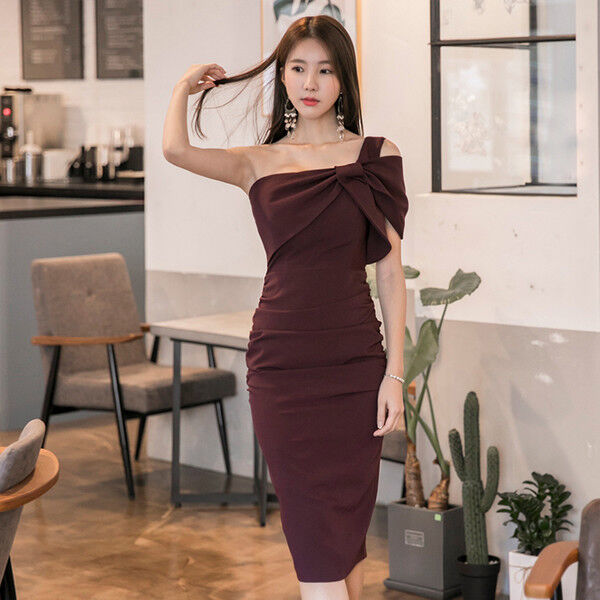 Élégant dress gown short sheath dress red red red comfortable knee slim tight 3259 e0cbe1